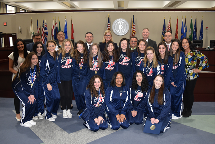 Miller Place High School Cheerleaders Recognized for Championship Victory